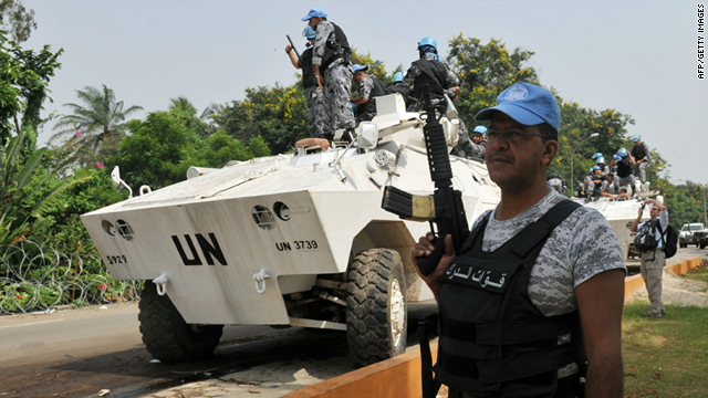 Jordanian U.N. peacekeepers on Saturday guard an Abidjan hotel serving as headquarters for internationally-recognized Ivory Coast President Alassane Ouattara.