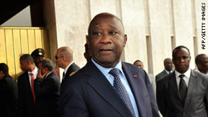 Laurent Gbagbo waits before a meeting with mediators at the presidential palace Monday in Abidjan, Ivory Coast.