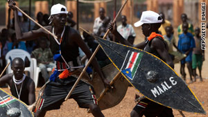 Young Sudanese perform a traditional dance at a rally for southern separation.