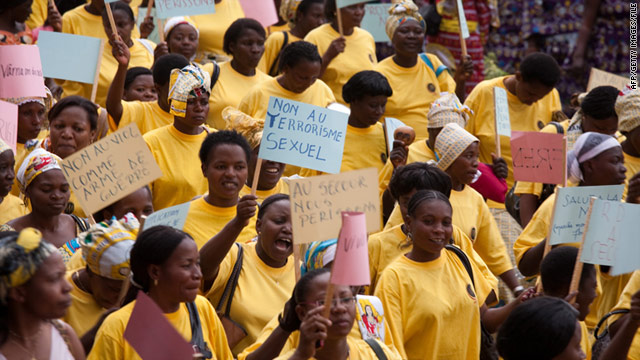 Women denounce sexual violence in an October march in the Democratic Republic of the Congo city of Bukavu.