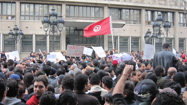 Protesters outside the Ministry of the Interior in Tunis on Friday January 14, calling for President Zine El Abidine Ben Ali to quit.