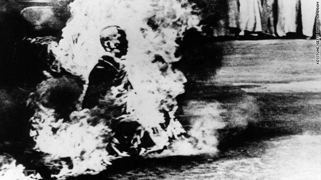 Thich Quang Duc, a Vietnamese Buddhist monk, burns himself to death at an intersection in Saigon on June 11, 1963.