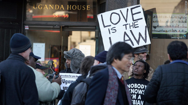 In December 2009, activists protest outside Uganda House in central London against a proposed ban on gay relationships.