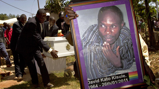 Mourners carry the coffin of David Kato, a prominent Ugandan gay rights activist who was murdered in his home this week.