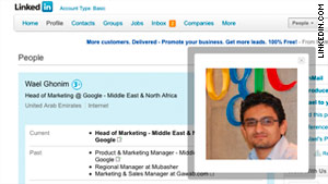 A screenshot of the LinkedIn page for Wael Ghonim, a Google executive missing in Egypt.