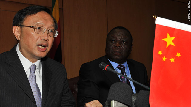 China's Foreign Minister Yang Jiechi holds talks with Zimbabwe's PM MorganTsvangirai in Harare on Febuary 11.