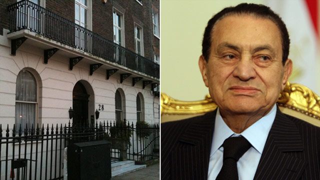 This house (pictured left) in Knightsbridge, central London, is believed to belong to Hosni Mubarak's son, Gamal.