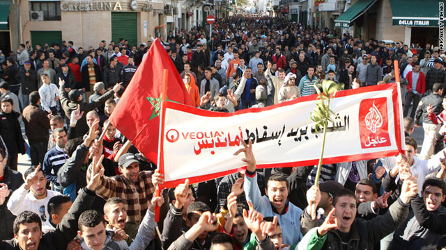 Moroccans demonstrate in the streets of Tetouan on Sunday against the electricity company Veolia and the government.