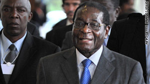 President Robert Mugabe arrives on May 6, 2010 to the World Economic Forum on Africa.