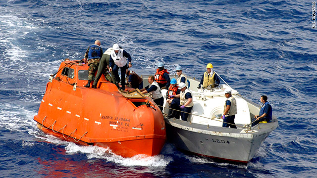Captain Richard Phillips was held hostage on this lifeboat after pirates hijacked the Maersk Alabama in April 2009.