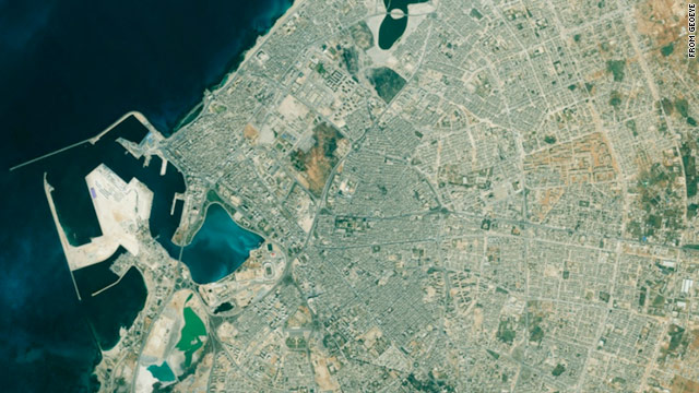 This is a recent satellite image of Benghazi in eastern Libya. The nation's second-largest city, it is held by rebels.