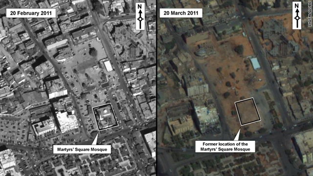 The images, taken in February and March, appear to show the destruction of a mosque in Zawiya, Libya.