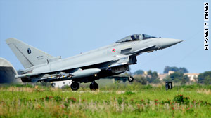 A Eurofighter from NATO member country Italy lands in Sicily on Friday after a mission.