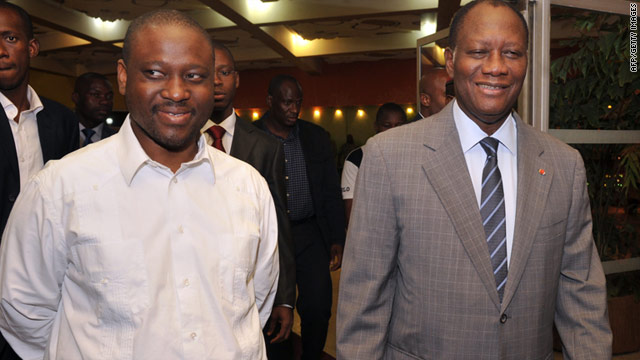 Ivory Coast's internationally recognised leader Alassane Ouattara (right) and PM Guillaume Soro are pictured together in January.