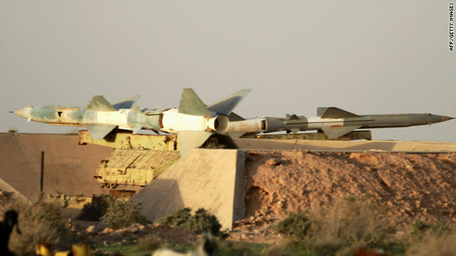 These surface-to-air missile were left at an abandoned Libyan air force base in the dissident-held city ofTobruk in eastern Libya on February 24.