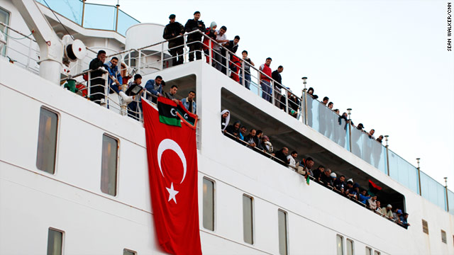 The Turkish cruise ship Ankara has been transformed into a hospital ship. It has picked up 360 patients from Libya.