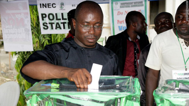 A man casts his vote during Nigeria's parliamentary polls on April 9, 2011.