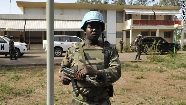 UN soldiers guard the residence where deposed Ivorian president Laurent Gbagbo is being held in Korhogo on Monday.