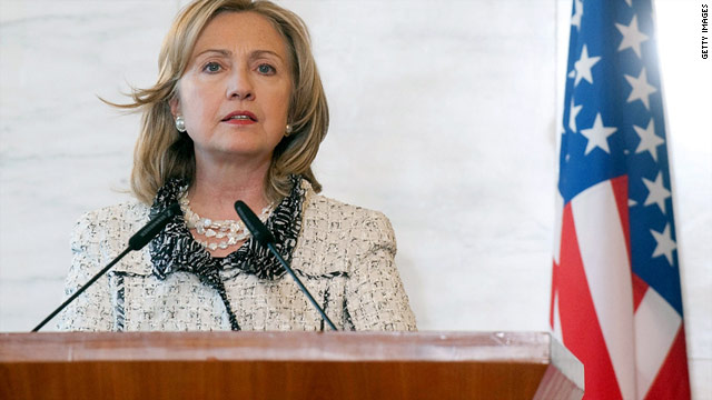 "Hillary Clinton in Rome: ""As long as Gadhafi continues to attack his citizens, we will continue to strike his forces."""