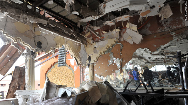 The view taken on April 30 shows the rubble inside the Argana cafe two days after a bomb blast in Marrakech.
