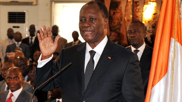 Alassane Ouattara is sworn in as Ivory Coast's president at the presidential palace in Abidjan.