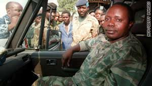 Rwandan former army chief General Augustin Bizimungu is pictured near Goma on July 27, 1994.