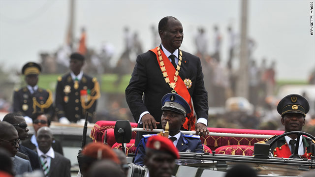 Ivory Coast President Alassane Ouattara greets crowds Saturday in Yamoussoukro after his inauguration.