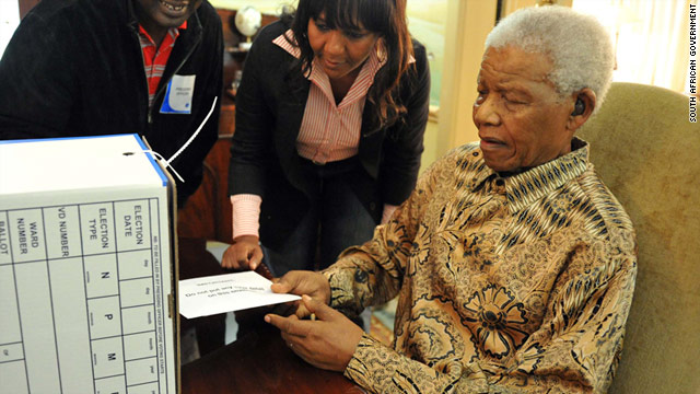 Nelson Mandela casts his vote for South African local elections in his Houghton, Johannesburg home on Monday, May 16.