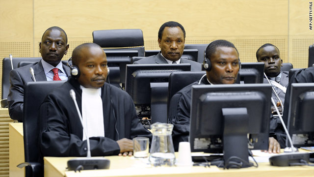 William Ruto (L, back), Henry Kosgey (C, back) and Joshua Arap Sang (R, back) at the Internation Criminal Court in April.