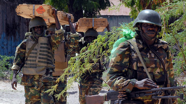 African Union peacekeepers (AU) take up new positions at a frontline in southern Mogadishu?s Shirkole area on June 2.