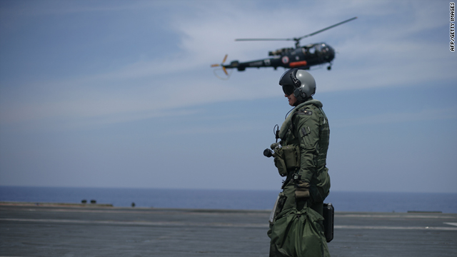 A French Navy pilot on the deck of the Charles de Gaulle aircraft carrier on April 21, 2011 in the Mediterranean sea.