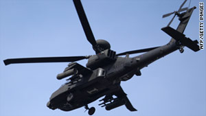 NATO-allied aircraft, including Britain's Apache helicopters, were being used for the strikes, the Ministry of Defence said.