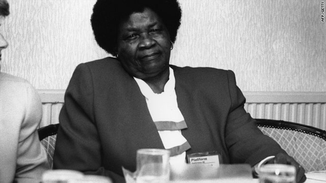 Albertina Sisulu, president of the ANC Women's League, in Blackpool, 1992. Sisulu died June 3, 2011 aged 92.
