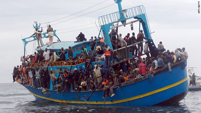 Boat carrying refugees from Libya and Tunisia