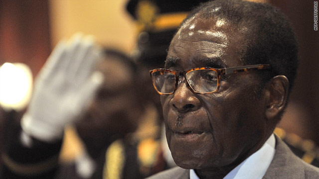 A police officer was sentenced last week to 10 days in jail for using a toilet reserved for Robert Mugabe (pictured) at a trade fair.