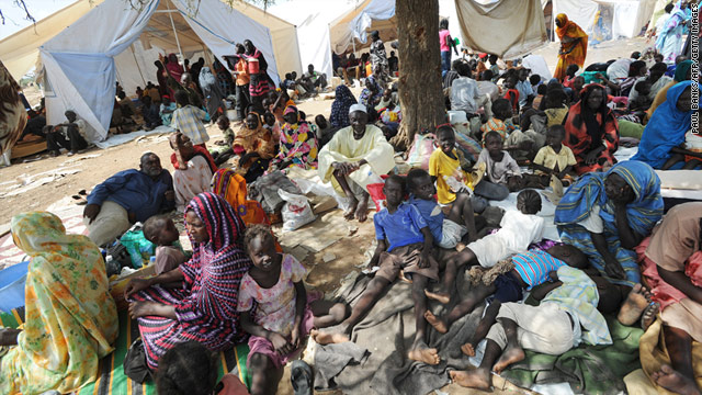 A picture released by the United Nations Mission in Sudan on June 10 2011, shows residents of Kadugli who fled fighting.