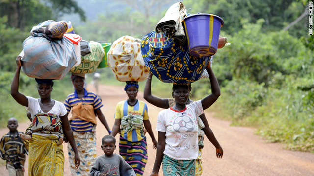 People displaced by violence return to their villages in western Ivory Coast in April, but over 300,000 are still yet to return.