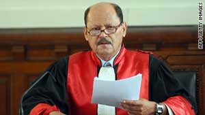 Judge Touhami Hafi speaks Monday at the start of the trial of Tunisia's deposed President Zine el Abidine Ben Ali.