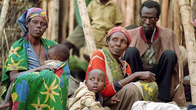 (file photo) A picture taken on May 28, 1994 shows displaced Tutsis at a refugee camp in Kabgayi, Rwanda.