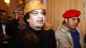 "Libyan leader Moammar Gadhafi says NATO should ""withdraw and run away."""
