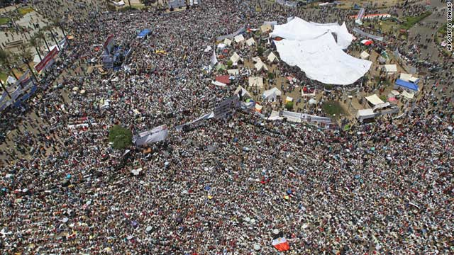 Thousands of Egyptian demonstrators rally in downtown Cairo's Tahrir square on Friday.