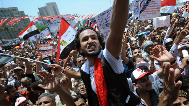 Egyptian protesters gather in Cairo's landmark Tahrir Square on July 15, 2011 to demand speedier reforms.