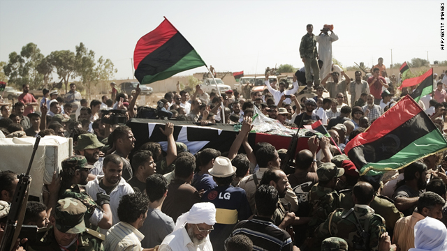 Libyan rebels carry the coffin of assassinated Army Chief Abdel Fatah Younis on July 29 in Benghazi, Libya.