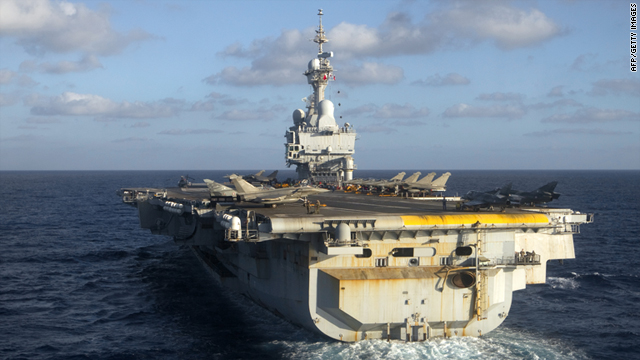 French aircraft carrier Charles de Gaulle sails on June 13, 2011 off the Libyan coast.