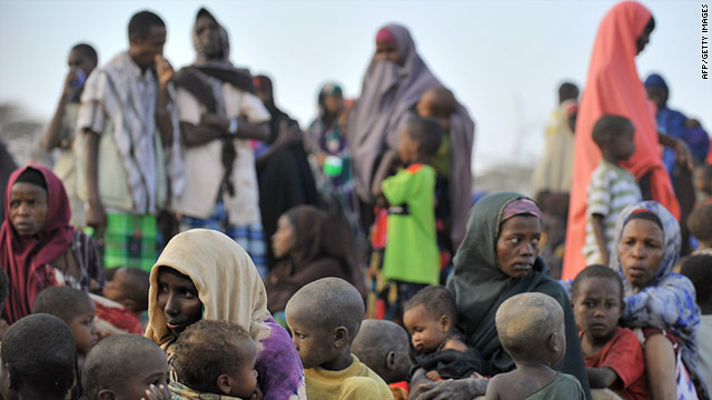 Somali refugees line-up at a registration centre at Dagahaley refugee site to be registered to receive aid.