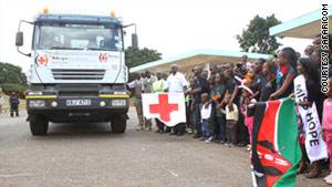 Kenyans flag off a shipment of citizen-funded food headed to the north, which is facing a drought.