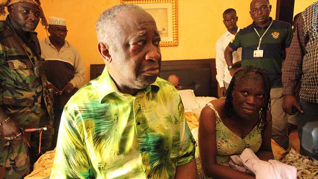 Laurent Gbagbo and his wife Simone at the Hotel du Golf in Abidjan, Ivory Coast, after their arrest on April 11, 2011.