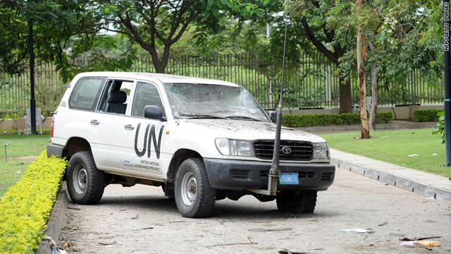 A U.N. vehicle damaged from a blast that rocked the Nigerian U.N. headquaters is seen in Abuja on August 28.