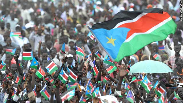 Thousands of Southern Sudanese celebrate their country's independence during a ceremony in Juba on July 09, 2011.
