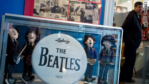 A visitor looks at the exhibits on display at the Beatles Museum in the eastern German city of Halle on April 3.